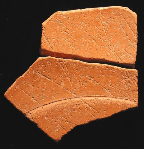 Two Joining Sherds of African Sigillata D Tableware with Cut Marks, Palatine East, Rome (Italy)