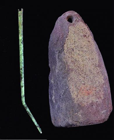 Copper Alloy Needle and Terracotta Loom Weight, Tower 8/Nola Gate Middens, Pompeii (Italy)