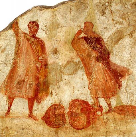 Fresco Depicting Two Men Arguing over Broken Amphora, Caseggiato dell'Ercole, Ostia (Italy)